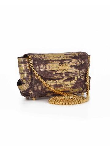 Aura Clutch - Lizard Imprint : Gold & Brick