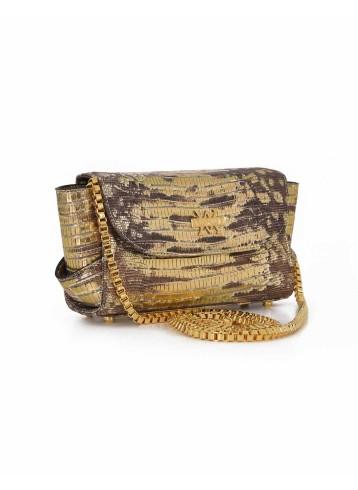Aura Clutch - Lizard Imprint : Gold & Brown