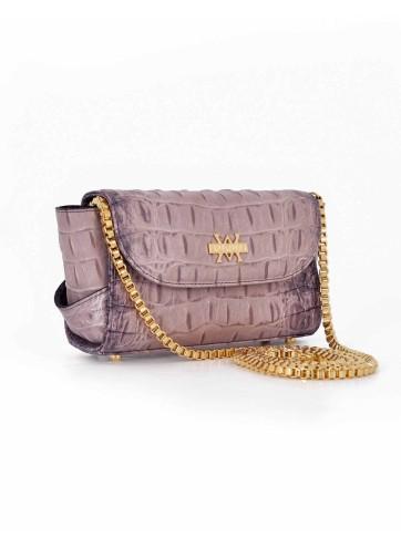 Aura Clutch - Crocodile Imprint : Mauve