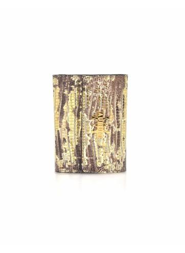 Wallet Lizard Imprints - Gold & Brown