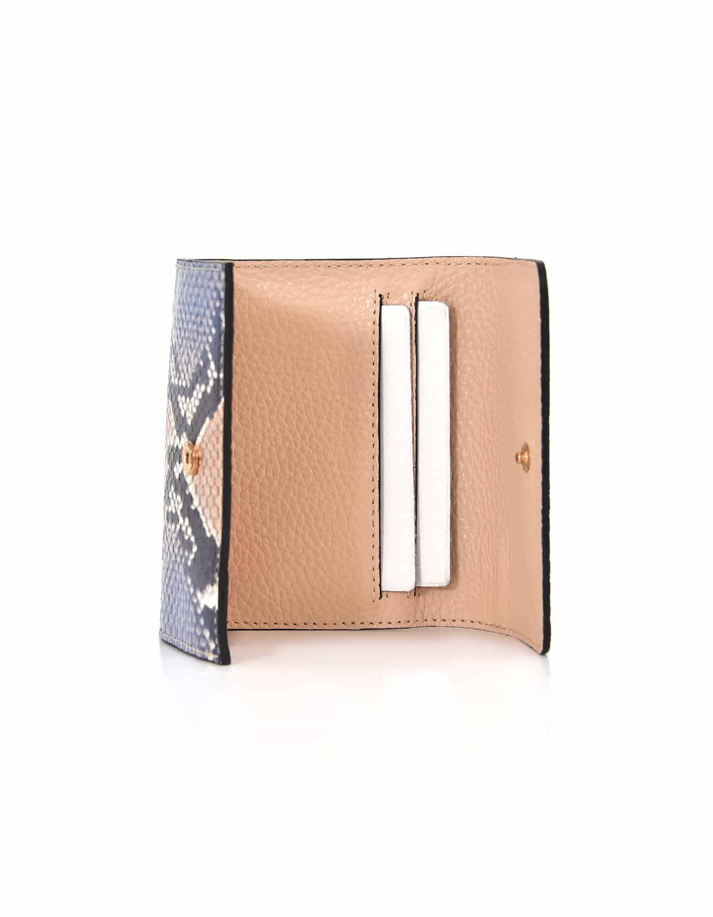 Wallet Python Leather - Beige & Blue