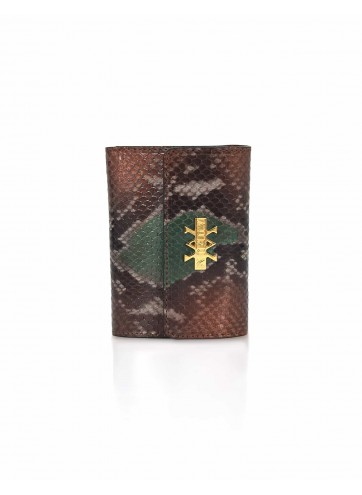 Wallet Python Leather - Brown & Green