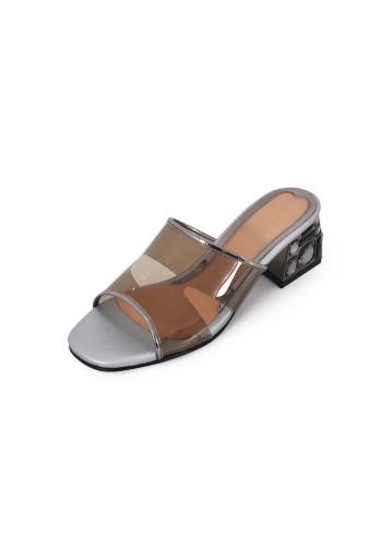 Clear Block Heels Mule - Silver