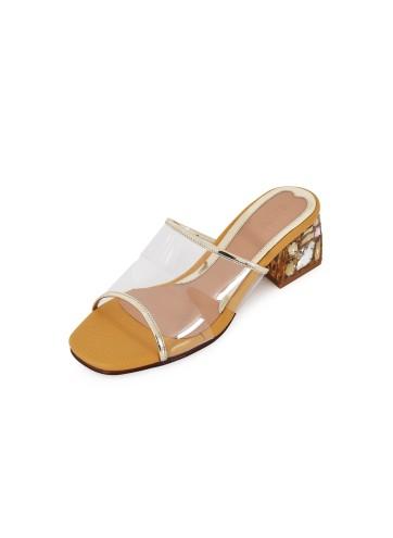 Clear Block Heels Mule - Mustard