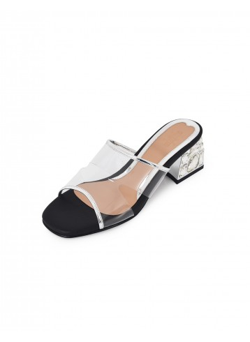 Clear Block Heels Mule - Black