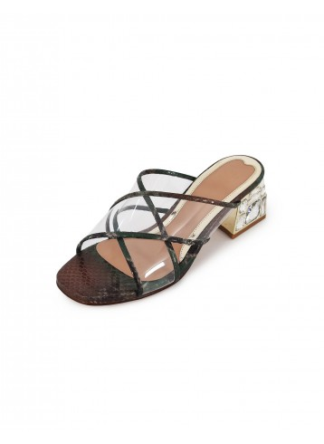 Clear Cross Strap - Olive Brown