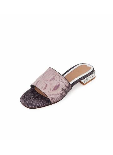 Broad Belt with Crystal Heels - Mauve