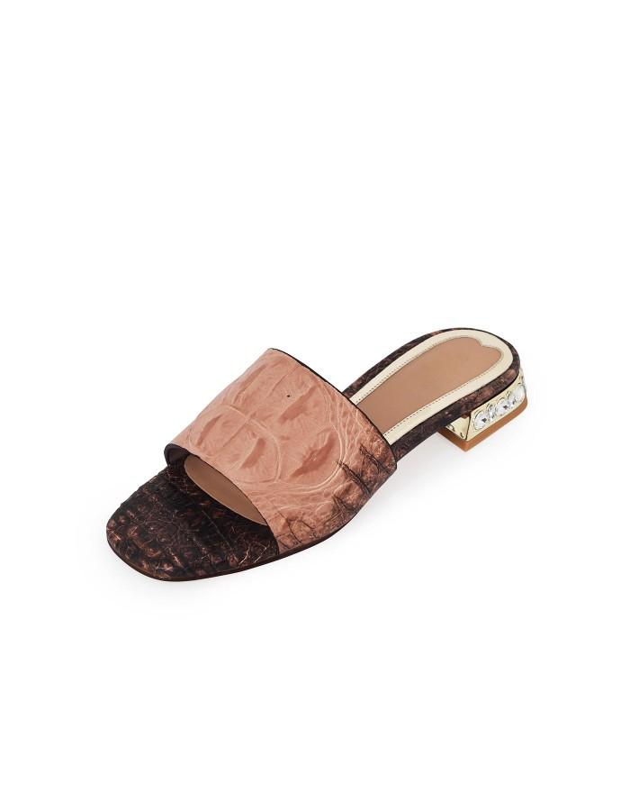 Broad Belt with Crystal Heels - Peach