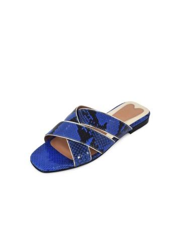 Cross Belt Flats - Blue Black