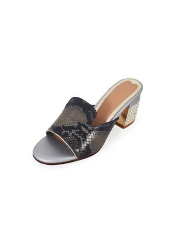 Open Toe Mules - Grey Black