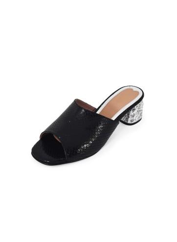 Block Heel Peep Toe - Black