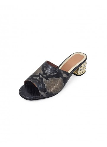 Block Heel Peep Toe - Grey Black