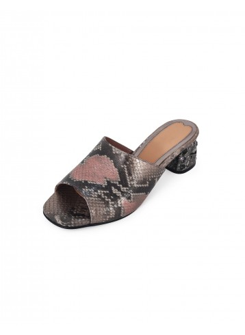Block Heel Peep Toe - Nude Grey