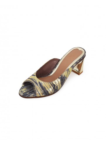 Poppy Pointed Mules - Lizard Gray Gold