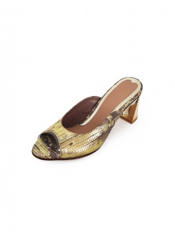 Poppy Pointed Mules - Lizard Brown Gold