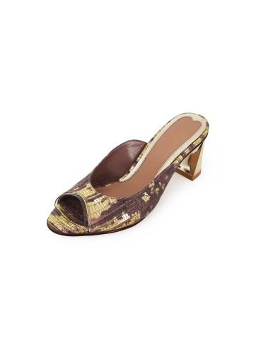 Poppy Pointed Mules - Lizard Brick Gold
