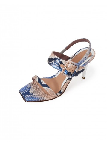 Sandal Square Toe Heels - Blue Beige