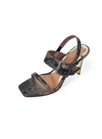 Sandal Square Toe Heels - Grey Black