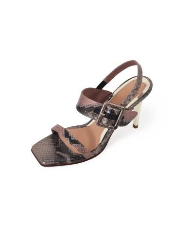 Sandal Square Toe Heels - Nude Grey