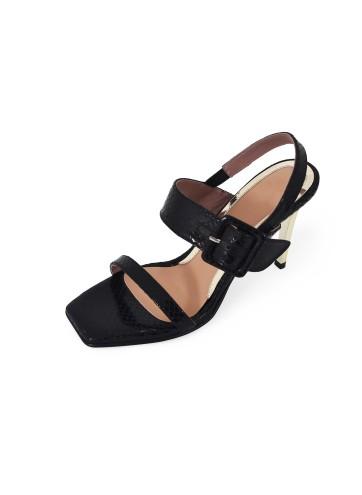 Sandal Square Toe Heels - Black